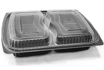 Black Rectangular 2 Compartment Plastic Microwavable Container Clear Lids Tray