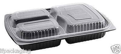 Black Rectangular 3 Compartment Plastic Microwavable Container Clear Lids Tray