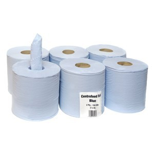 BLUE PAPER WIPE CENTRE FEED HAND TOWEL 2 PLY ROLL, Pack Size of 6 / 12 / 18